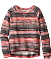 Lucky Brand Kids - Printed Striped Sweatshirt in Burnout Baby Terry (Big Kids)