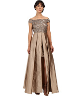 Adrianna Papell - Off Shoulder Over Skirt Gown