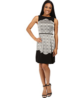 Tahari by ASL Petite - Petite Metallic Jacquard Fit and Flare with Scallop Detail