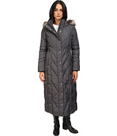 London Fog - Mix Quilted Maxi Coat with Fur Hood