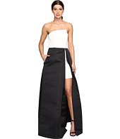 Halston Heritage - Strapless Hi-Lo Color Blocked Structure Gown