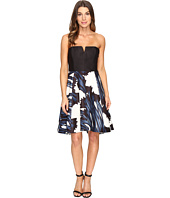 Halston Heritage - Strapless Notch Neck Printed Dress