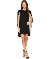 Halston Heritage - Cape Sleeve Round Neck Color Blocked Dress