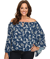 Christin Michaels - Plus Size Iris Off the Shoulder Top with Front Tie