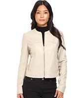 Via Spiga - Collarless Center Zip Leather Jacket
