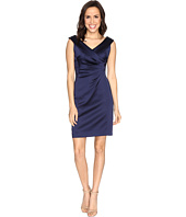 Tahari by ASL - Stretch Satin Sheath Dress with Side Ruche