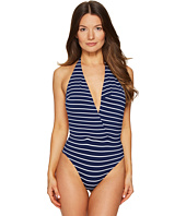 Emporio Armani - Seaworld Deep V Stripe One-Piece Knit Swimsuit