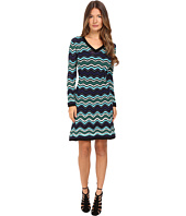 M Missoni - Long Sleeve V-Neck Ripple Stitch Dress
