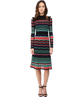 M Missoni - Colorful Ripple Stitch Long Sleeve Mid Length Dress w/ Ruffle Collar