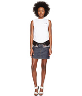 DSQUARED2 - Denim Check and Leather Nylon Mix Skirt