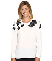 Vince Camuto - Long Sleeve Blouse with Sequin Lace Applique