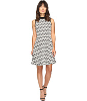 Vince Camuto - Sleeveless Herringbone Jacquard Mock Neck Dress