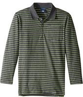 Toobydoo - Green Stripe Long Sleeve Polo (Toddler/Little Kids/Big Kids)