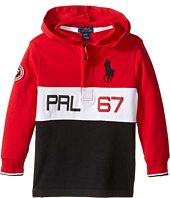 Polo Ralph Lauren Kids - Jersey Long Sleeve Hooded Rugby (Toddler)