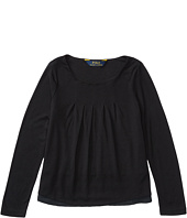 Polo Ralph Lauren Kids - Rayon Jersey Knit Woven to Woven Top (Toddler)