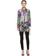 Versace Collection - Sheer Collared Printed Long Sleeve Blouse
