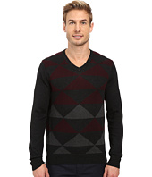 Perry Ellis - Diamond Color Block V-Neck Sweater