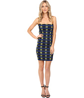 Kitty Joseph - Printed Crepe Crystal Pleating Tube Short Dress