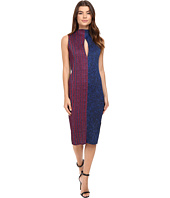 Kitty Joseph - Printed Crepe Crystal Pleated Cf Slit Long Dress