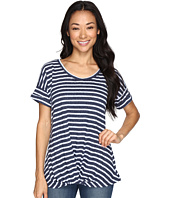 Allen Allen - Twist Front Crew w/ Roll Hem Sleeves Stripe