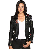 Blank NYC - Embroidered Floral Detail Studded Moto Jacket in As You Wish