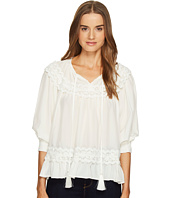 Kate Spade New York - Rambling Roses Lace Inset Silk Top