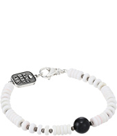 King Baby Studio - White Shell Bead Bracelet with a Round Onyx Bead