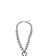Steve Madden - Double Beaded Strand w/ Turquoise Bead Horseshoe Pendant Necklace