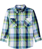 Tommy Hilfiger Kids - Basil Plaid Long Sleeve Woven Shirt (Toddler/Little Kids)