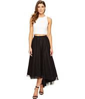 Aidan Mattox - Ivory Sequin Halter Top with High-Low Black Mesh Skirt
