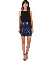 Aidan Mattox - Sleeveless Blouson Top with Foil Jacquard Skirt