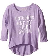 The Original Retro Brand Kids - Unicorns Are My Spirit Animal 3/4 Dolman Tee (Big Kids)