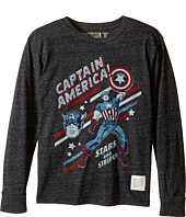 The Original Retro Brand Kids - Captain America Long Sleeve Tri-Blend Tee (Big Kids)