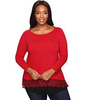 Karen Kane Plus - Plus Size Lace Inset Sweater