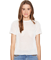 RED VALENTINO - Cotton Yarn Mesh Stitching & Lace Top