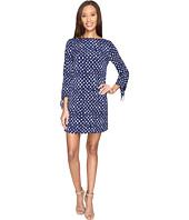 Tahari by ASL - Jersey Dot Print Tie-Sleeve Shift Dress