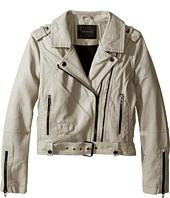 Blank NYC Kids - Vegan Leather Moto Jacket in Beige (Big Kids)
