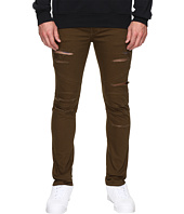 Rustic Dime - Shredded Biker Denim in Olive