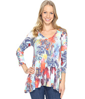 Nally & Millie - Colorful Feather Print Ribbed Tunic