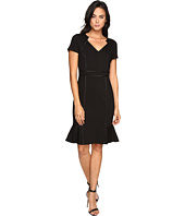 NUE by Shani - V-Neck Ponte Knit Dress with Side Flounce