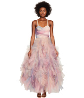 Marchesa - Pastel Tulle Ruffles w/ Corseted Bodice Cocktail Dress