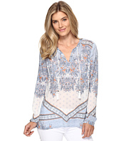 Dylan by True Grit - Vintage Boho Bandana Border Long Sleeve Blouse