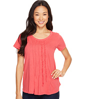 Dylan by True Grit - Vintage Soft Cotton Pleated and Ruffle Short Sleeve Tee