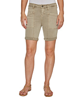 Liverpool - Kylie Cargo Shorts with Flat Patch Pockets on Pigment Dyed Slub Stretch Twill in Pure Cashmere