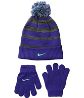 Nike Kids - Heather Stripe Beanie & Gloves Set (Big Kids)