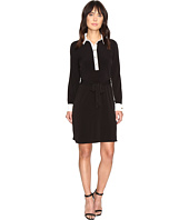 Ivanka Trump - Matte Jersey Dress with Self Tie and Contrast Collar and Cuff