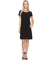 Vince Camuto - Short Sleeve Sheer Yoke Flare Dress