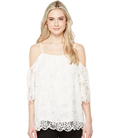 Vince Camuto - Elbow Sleeve Cold-Shoulder Organic Lace Blouse
