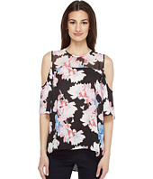 Vince Camuto - Short Sleeve Poetic Bouquet Sheer Yoke sleeve Blouse