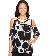 Vince Camuto - Short Sleeve Cut Out Floral Cold-Shoulder Blouse